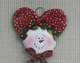 hand sculpted polymer clay Holly heart snowman ornament