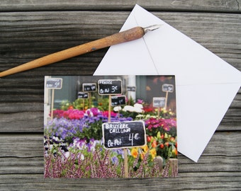 "Paris Photo Notecard - ""Marché aux Fleurs"" - Single Folded Card with Envelope, Blank Inside"