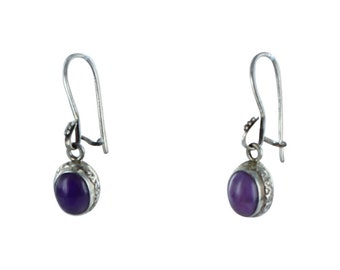 Sugilite Sterling Earrings Etched Oval 8x10mm