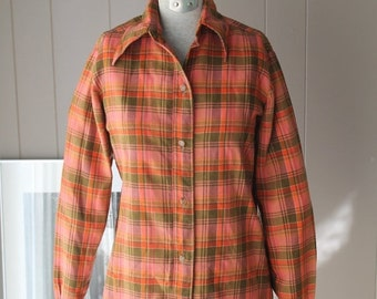 ON SALE 70s Handmade Viyella Plaid Shirt /Moss Green and Rose Flannel shirt  Wool and Cotton Button down shirt / Exquisitely Tailored handma