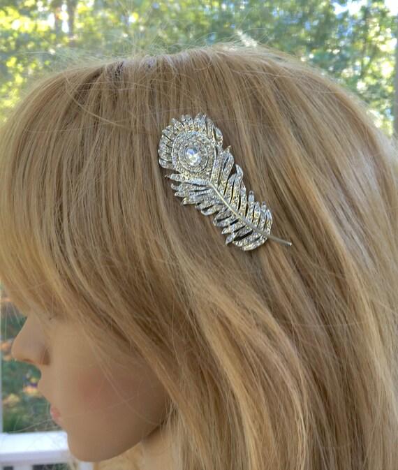 Rhinestone  Peacock Comb, Bridal Wedding Comb,   Bridal Peacock Hairpiece,   Rhinestone  Bridesmaids Comb
