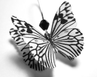 Statement Earrings - Black and White Earrings - Butterfly Zebra Earrings - Black and White Jewelry - Dangle Earrings - Silver Gold Ear Wire
