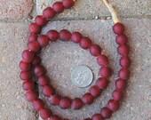 Ghana Glass Beads: Dark Red 12mm