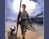 Star Wars The Force Awakens Rey & BB8 Panel - Camelot Cottons - 1 Yard Panel - More Available - BTY