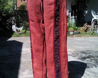 100 percent hemp drawstring pants patchwork with full batik/embroidery red Unisex