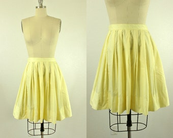 1950's Yellow Cotton Full Skirt S M Majestic