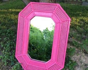 Hot Pink Syroco Cane Mirror