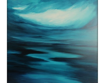 Large Seascape Abstract Painting on Canvas Modern Acrylic Skyline- 40x40- Blues, White, Greens, and more