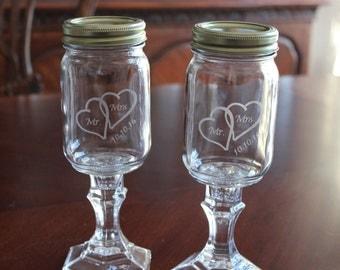 2 Engraved Redneck Mason Jar glasses, Wedding toasting glasses, Couple Redneck glasses, Mason Jar Glasses, Wedding Gift, Shower gift