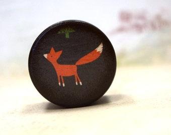 Orange Fox Pill Box - Wood Gift Box, Pill boxes, Small pill box, Ring Bearer Box, Wedding Ring Box, Stocking stuffer, Gift Boxes, Woodland