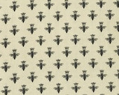 Crowned Bees on Cream - Queen Bee by Patrick Lose for RJR Fabrics - Full or Half Yard Queen Bees Black Bees on Cream