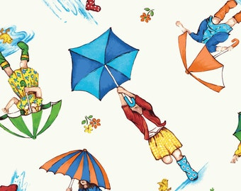 Puddle Jumpers from Red Rooster - Full or Half Yard Girls with Umbrellas on Cream