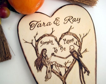 Nightmare Before Christmas Wedding cake Topper, Halloween Wedding, Rustic wedding, jack and sally, Pyrography, PERSONALIZABLE Cake Topper