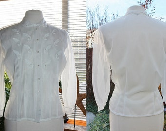 1950's White Sheer Blouse PinTucks Pleated Appliques Small Medium Vintage REtro 50s Debcraft Hipster Office Day