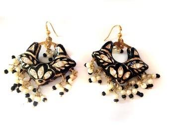 BlackGold Earrings,Black chandbali,Jhumkas,White pearl Earrings, Lac Earrings,Jaipur Jhumkas,Indian Jewellery by Taneesi