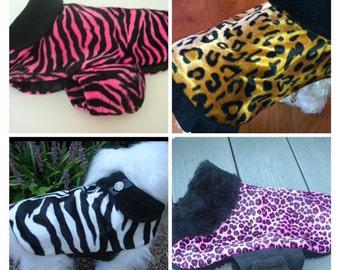 Pick a pattern Large Dog Jacket, Faux Fur,  Dog Coat, Dog Jackets