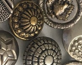 Vintage Silver Metal Brass Button Collection Lot of 9 Unique Designs