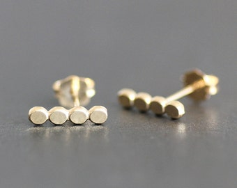 Gold Vermeil Pebble Bar Earring - Beaded Post /Stud Earrings - 11x3mm - Medium Size - Yellow Gold over Recycled Sterling Silver