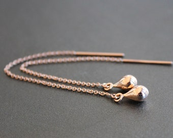 Rose Gold Small Teardrop Earrings  - 10mm Rose Gold Vermeil Drops on Rose Gold-Filled Threaders