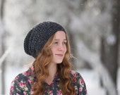 Charcoal Slouchy Beanie Women, Crochet Hats, Women's Hat, Youth Slouchy Beanie, Hipster Clothing, (Morgan)