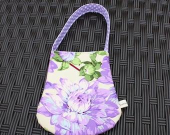 Girls Small Purse Flower Tote Small Purse Toddler Tote Girls Purse Handmade Purple Flower Tote Toddler Mini Tote