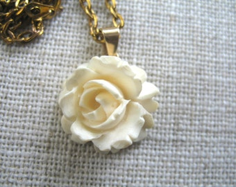 Vintage Hand Carved Bone Pendant / Necklace ~ Rose ~ 10 K gold setting
