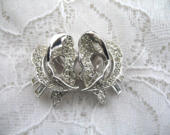 Vintage Rhinestone Earrings ~ Clip On ~ Crystal Rhinestones~ Ledo