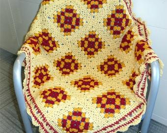 "Crochet BABY BLANKET AFGHAN Lap Granny Squares Soft Warm Yellow Burgundy Gold 37"" x 33"" Girl Boy"
