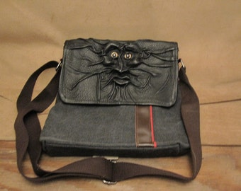 "Grichels leather and canvas purse/shoulder bag - ""Crideger"" 27043 - black with rosy gold fish eyes"