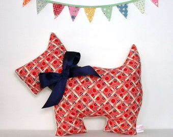 Scottie Dog Nursery Pillow - New Baby Gift - Dog Pillow - Red Plaid - Scottish Terrier - Retro Home Decor