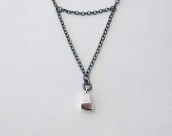 Mineral Mass Necklace in Oxidized & Sterling Silver