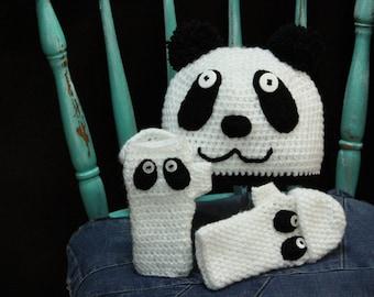 Crochet Panda Bear Hat, White Black Crochet Hat, Crochet Children Bear Hat,Crochet Funny Hat, Crochet Animal Hat, Winter Funny Hat
