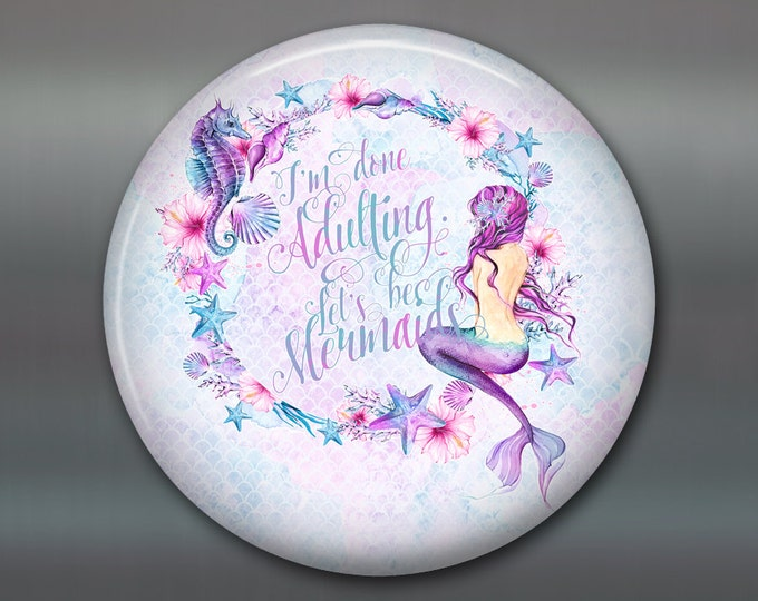 """3.5"""" mermaid decorations - mermaid home decor - beachy quotes kitchen decor - mermaid sayings - round magnet kitchen decor - MA-BCH-1"""