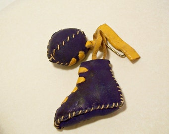 Football Pin Leather 1940's Era Cleat Ball Blue and Gold Football Fan Brooch Sports Vintage