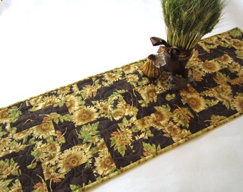 Fall Table Runner, Quilted Table Runner, Handmade Table Runner, Tablerunner, Sunflowers, Home Decor, Leaves, Table Decor, Brown