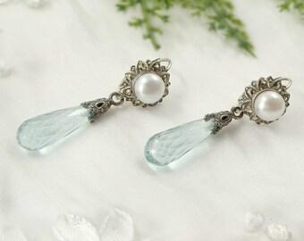 Vintage marcasite earrings with paste aquamarine and freshwater pearls || ЖЕМЧУГ 963