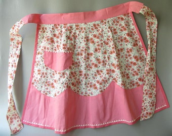 Vintage Pink Foral Apron, half, Cotton, print, flower