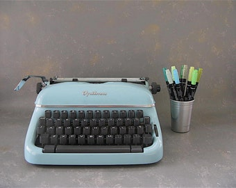 Vintage Typewriter, Optima, Elite 3,  1960s,  aqua, portable, manual, working