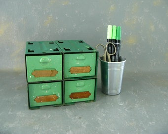 Vintage Metal Parts Drawers, green, small, 50s, industrial, office storage, decor