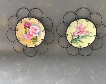 Vintage Wire Plates, Ceramic, Floral, set, wire framed, decorative plates, wall decor