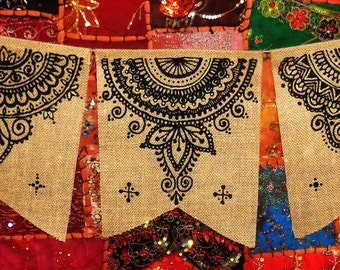 Set of 5, Henna Mehndi Large Mandalas Burlap Jute Prayer Flags Pennants Bunting