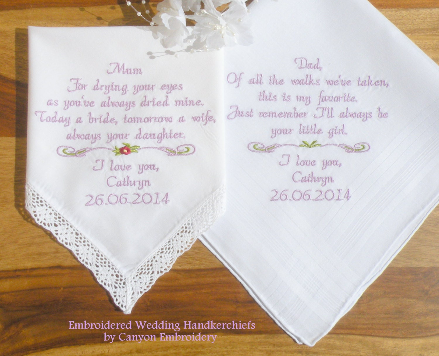 Wedding Gifts For Mom From Bride : Wedding Gift for Mom and Dad Embroidered by CanyonEmbroidery