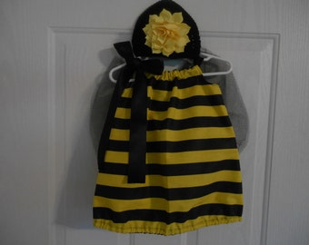 Bumble Bee Costume with flower hairclip wings and headband or hat size 18 months ships priority mail