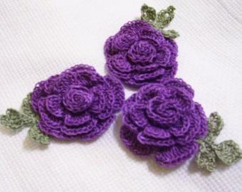 3 roses flowers violet/purple appliques scrapbooking sewn on home decor handmade embellishments