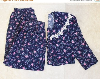 20% Off FALL SALE 90s Floral Outfit Vintage 2 Piece English Country Pants Top Small