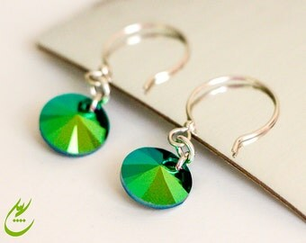 Scarabaeus Green Swarovski Crystal Earrings, Sterling Silver Earrings, Minimalist Shimmering Style, Swarovski Xilion circle Rivoli Earrings