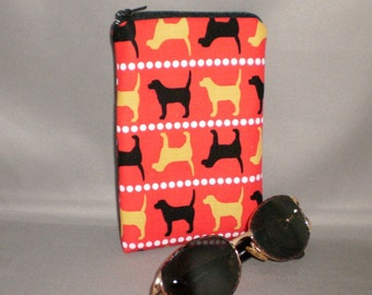 Eyeglass or Sunglasses Case - Zipper Top - Padded Zippered Pouch - Dogs - Black Lab - Yellow Lab