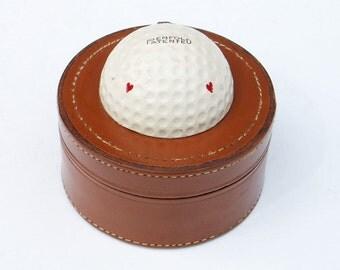 Leather Stud Box Round Jewelry Storage Golf Memorabilia