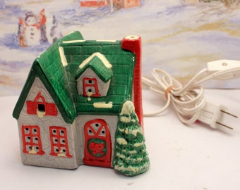 Christmas Village House Cottage Lighted Ceramic  On Off Switch Cord