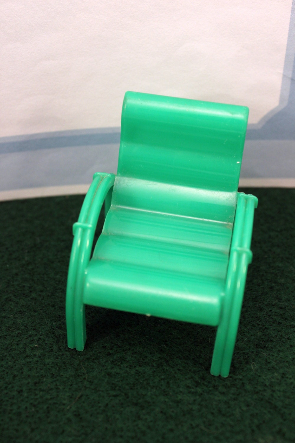 Marx Green Patio Chair Plastic Dollhouse Furniture Marxie